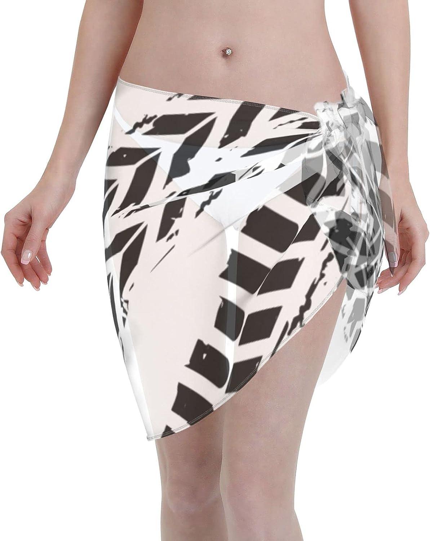 Tire Texture Women Short Beach Sarongs Sheer Cover Ups Chiffon Scarf Bikini Wrap Skirt for Swimwear Black