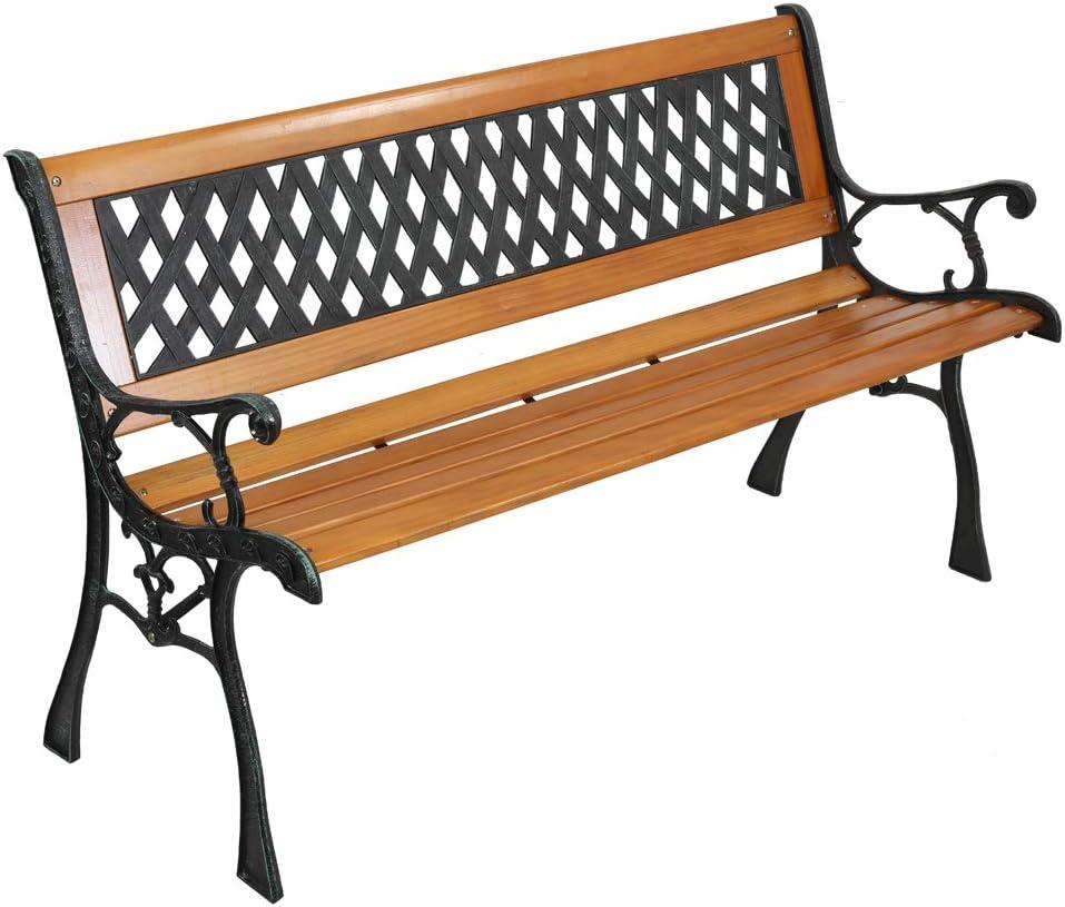 SSLine Outdoor Hardwood Garden Bench 49-Inch Patio Park Bench Elegant Porch Deck Loveseat w/Cast Iron Frame and Mesh Pattern Backrest, Bronze & Natural