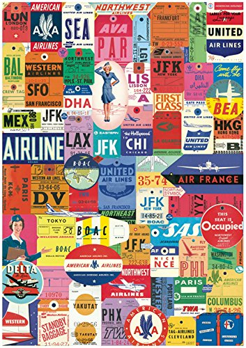 1 x A4 Printed Vintage Airline Luggage Tags Labels Wallpaper Decor Icing Sheet Edible Cake Topper Decorated Sheet - Perfect for Large Cakes