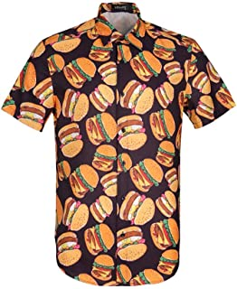 UPAAN Men's Food Print Shirts Hawaiian Short Sleeve Casual Tropical Funky Button Down Shirt