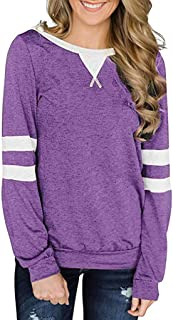 Opinionated Women's Raglan Long Sleeve T-Shirt Loose Blouse Henley Solid O-Neck Patchwork Tee Shirt Tops