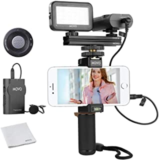 Movo Wireless Smartphone Video Kit V2 with Grip Rig, Wireless Lavalier Microphone, LED Light and Wireless Remote - YouTube...