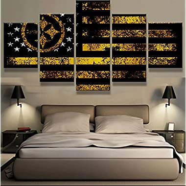 [Medium] Premium Quality Canvas Printed Wall Art Poster 5 Pieces / 5 Pannel Wall Decor Pittsburgh Steelers Sport Flag Painting, Home Decor Pictures - With Wooden Frame