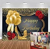 DANIU Glitter Gold Happy Birthday Backdrop Red Rose Floral Golden Balloons Heels Champagne Glass Background for Women Family Birthday Party Decor Supplies 7x5ft Vinyl