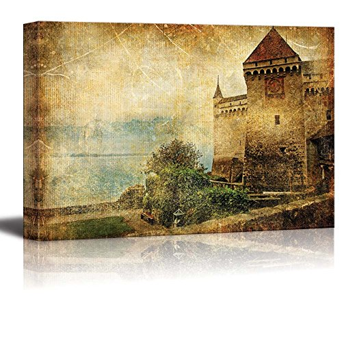 """Wall26 - Canvas Prints Wall Art - Swiss Castle - Artwork in Painting Style 