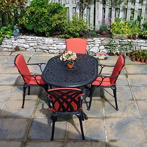 Lazy Susan June 4 Seater Oval Sand-cast Aluminium Garden Furniture Set, Maintenance-free, Weatherproof, Antique Bronze Finish, Matching April Chairs, April Bench| Stone Cushions