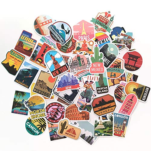 50 pegatinas de la ciudad, pegatinas de viajes, pegatinas de mundo, Londres, París, Tokio y mas