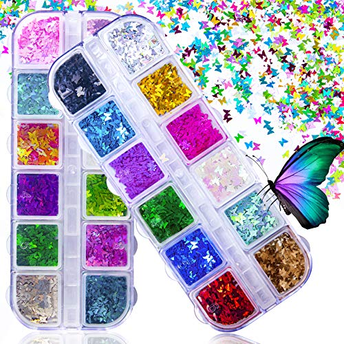 JOYJULY 3D Holographic Butterfly Nail Glitter 24 Color/Set Butterfly Nail Glitter Sequins Laser Butterfly Nail Sequin Acrylic Paillettes for Nail Art Decoration & DIY Crafting