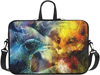 The Phoenix Bird and Fox Collage Pattern Briefcase Laptop Bag Messenger Shoulder Work Bag Crossbody Handbag for Business Travelling