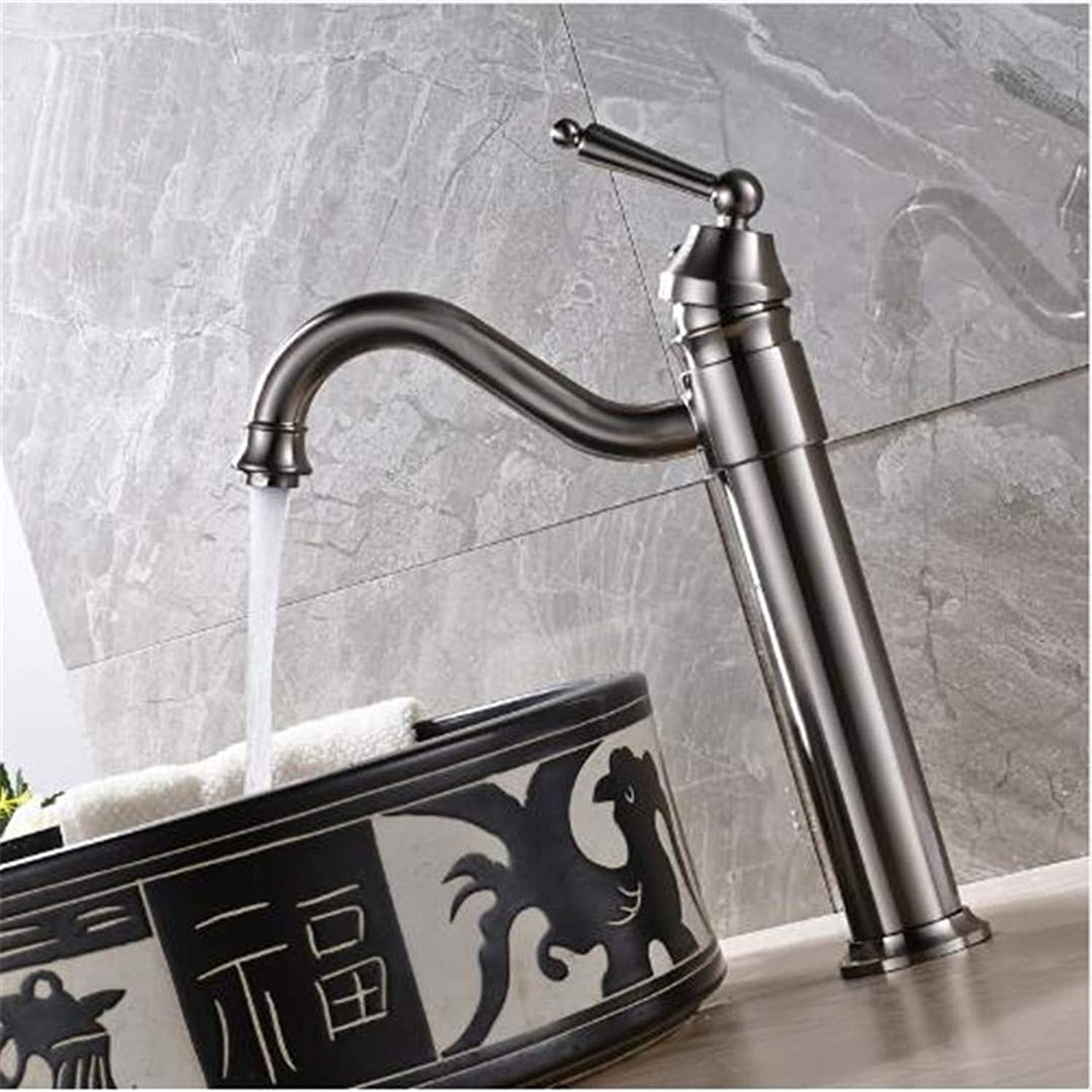 Bathroom Basin Faucet Kitchen Faucet Hot and Cold Taps Crossnickel Brushed Bathroom Sink Faucet Single Handle Vessel Mixer Tap Solid Brass Countertop Crane