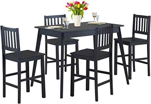 2021 Giantex outlet sale 5 Piece Dining Set, Wood Dining Table with 4 Chairs,Counter Height Kitchen online sale Table Modern Home Furniture (Black) online