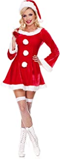 Women's Santa Mrs. Claus Costume with Hat Christmas Dress Fancy Outfit Adult Red