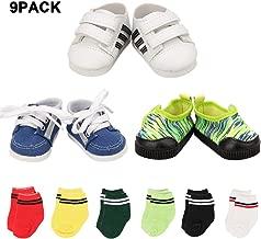Mylass Lot 9 Handmade Items for 18 Inch Boy Doll EU CE-EN71 Certified Include3 Sneakers + 6 Pair Free Socks for American 18 Inch Gril Boy Doll