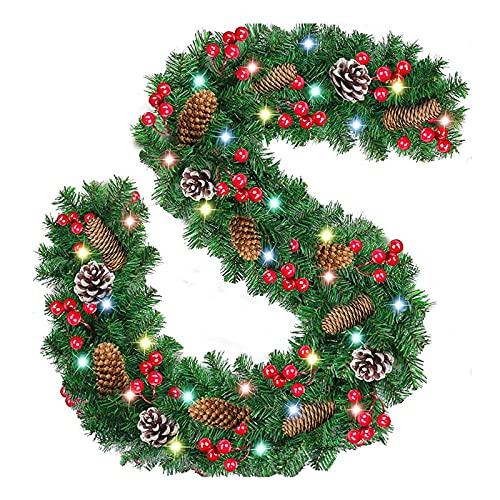 Weihnachtsgirlande Mit Beleuchtung Aussen Batterie,2.7M Tannengirlande Echt Aussehend Mit Beleuchtung, Weihnachts Deko Led Lichterkette Weihnachtsgirlande Treppengeländer Kamin Tür Hochwertig (A+)