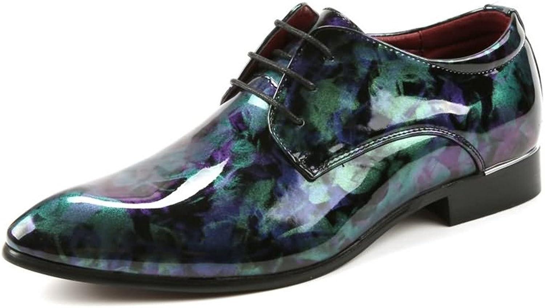 Ruiyue Leder Oxford Schuhe Männer, Glatte abstrakte Malerei PU Leder Classic Lace Up gefüttert Formale Geschäfts Hochzeit Müßiggänger für Männer (Farbe   Grün, Größe   41 EU)    Sale Online Shop