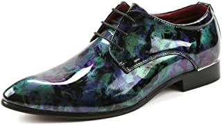 Men's Shoes-Men's Smooth Abstract Painting PU Leather Shoes Classic Lace Up Loafers Lined Formal Business Oxfords Quality (Color : Green, Size : 44 EU)