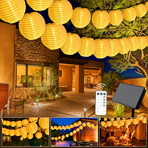 Greatever Solar Lichterkette, 10M 40er LED Warmweiß LampionLichterkette 8 Modi LED Lampion IP65 Wasserdicht Solar Lichterkette Außen Beleuchtung für Garten, Party, Hochzeit, Fest Deko