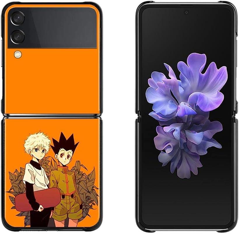 Case for Galaxy Z Flip 3 Fold Case for Samsung Galaxy Z Flip 3 Black Silicone Hard Phone Cover Shockprooft Capas Funda GON Killua Zoldyck (7, Galaxy Z Flip 3)