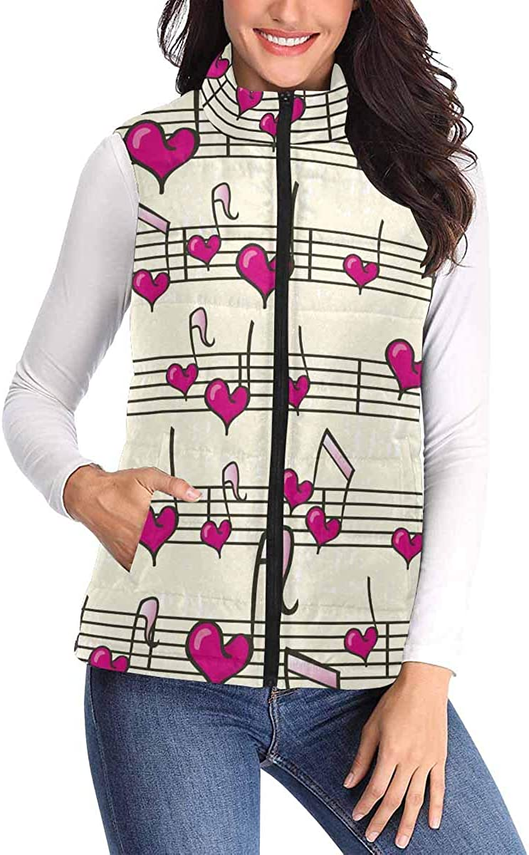 InterestPrint Casual All Over Print Zip Padded Vest with Pocket for Women Heart Music Background