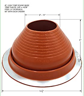 EAGLE 1 EPDM Flexible Roofing Pipe Flashing Boots - On Site Adjustable Roof Pipe Jack Boot with Round Base (High Temp Red, 7)
