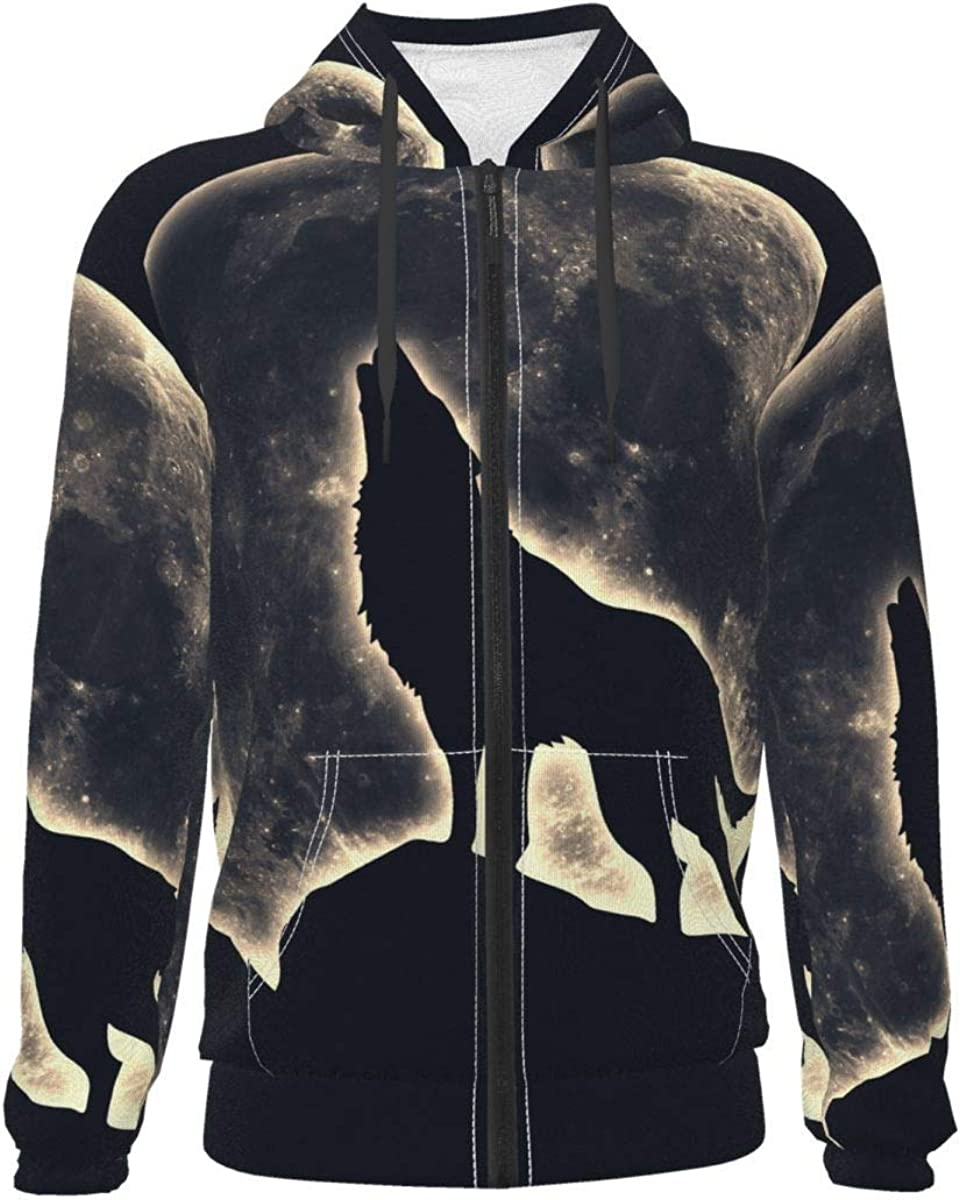 Roaring Wolf Night Kids & Youth Full-Zip Fleece Hoodie Boys Print Hooded Sweatshirt Jacket Pockets