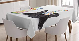 Ambesonne Birthday Party Tablecloth, Sleepy French Bulldog Party Cake with Candles Cone Hat Celebration Image, Dining Room Kitchen Rectangular Table Cover, 60