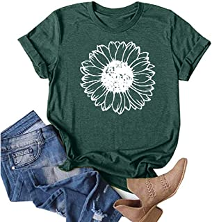 OverDose Boutique Overdose Sommerbluse Damen, Rundhals Blusentops Kurzarm Druck T-Shirt Sommer Outfits Sportwear Tees Sommertops Casual Oberteile für Frauen