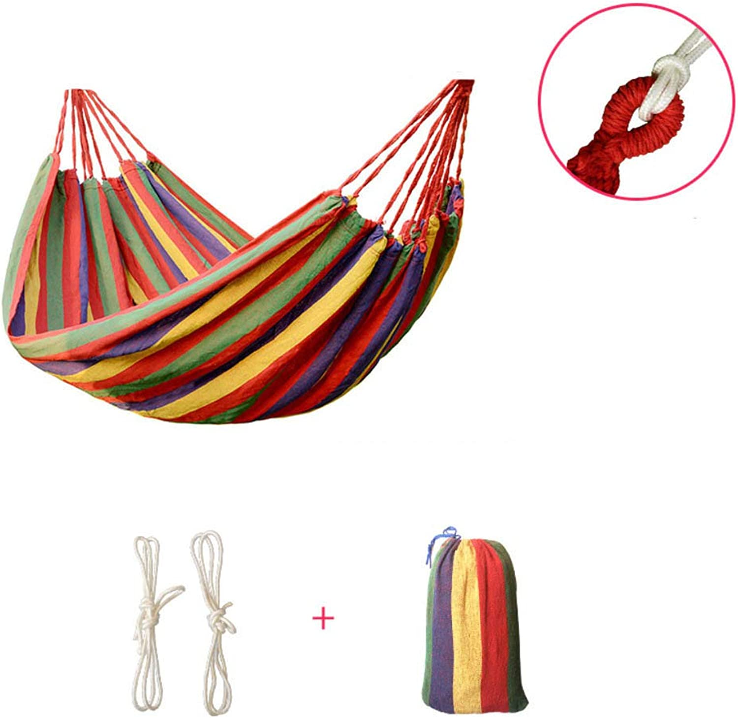 Single & Double People Canvas Hammocks Outdoor Travel Ultralight Camping Portable Beach Swing Bed Tree Hanging Suspended Hammock-red 190x150cm(75x59inch)