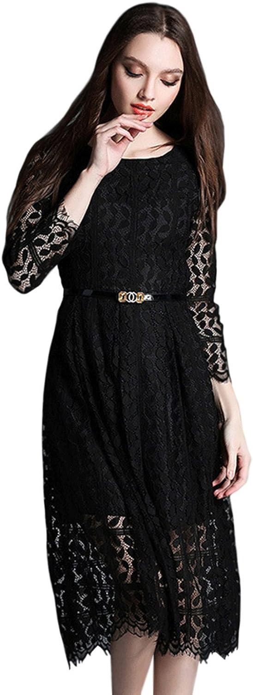Women Long Sleeves Knee Length Lace Aline Dress Black (BLACK)