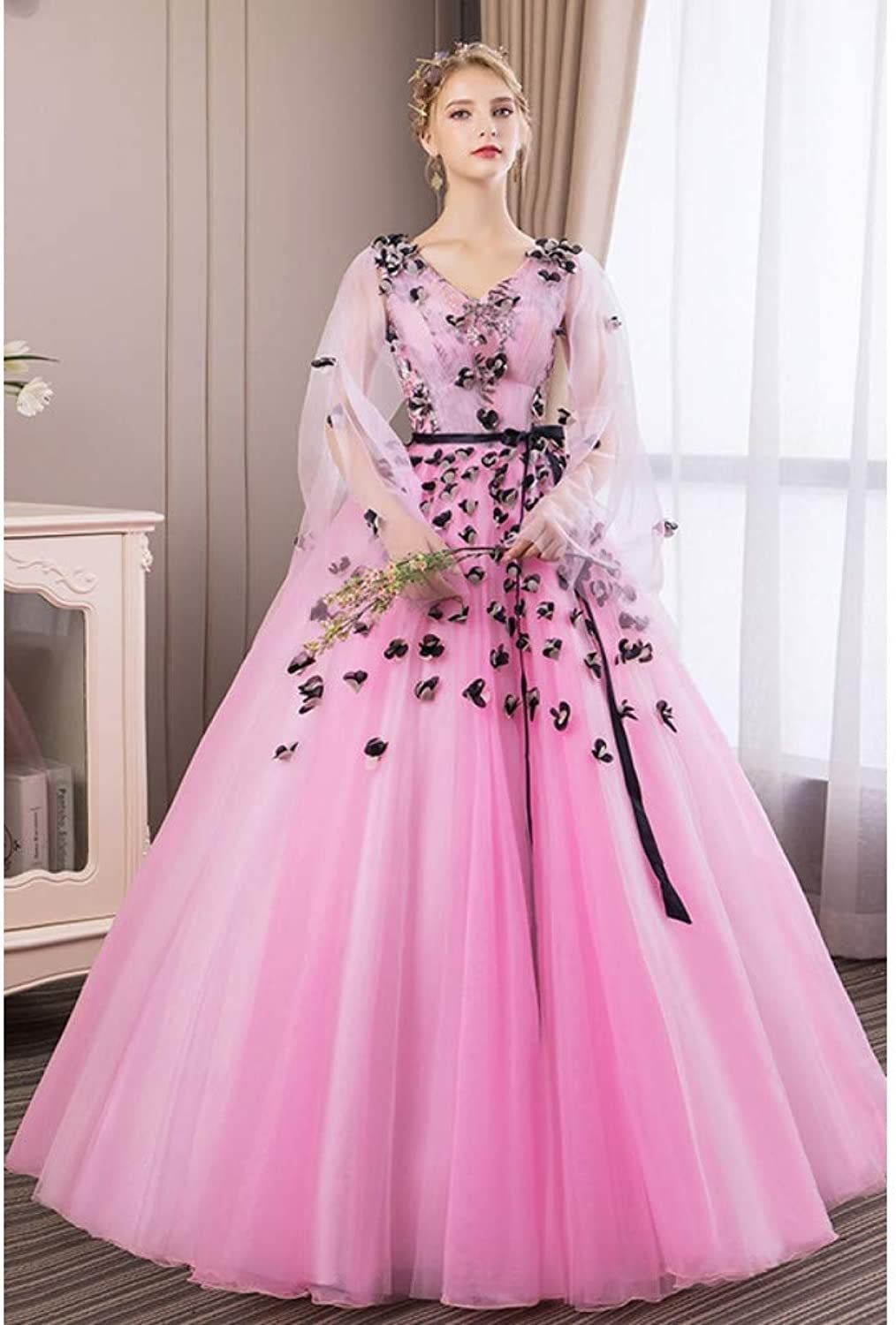 QAQBDBCKL Queen Cosplay Pink 3 Flowers Medieval Dress Renaissance Costume Victorian Marie Antoinette Belle Ball