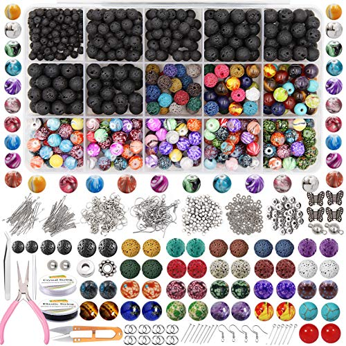 EuTengHao 846Pcs Lava Stone Beads Rock Loose Beads Cloisonne Beads Kit with Ink Patterns Chakra Beads Spacer Pendants Beads for Diffuser Essential Oils Adult DIY Bracelet Jewelry Making Supplies