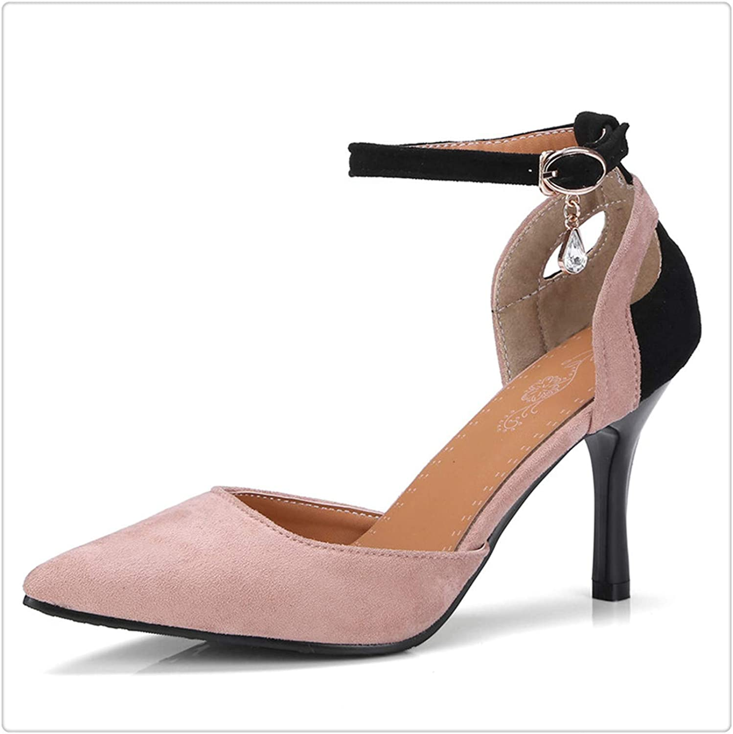 Yyixianma Woman Fashion thinHigh Heels Sandals Women Summer shoes 2019 Womens Female Ankle Strap Pointed Toe Suede Nubuck Sandal Pink 4