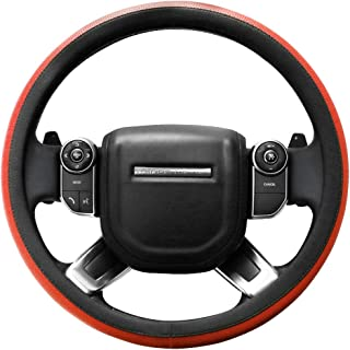 SEG Direct Microfiber Leather Orange Steering Wheel Cover for F-150 Tundra Range Rover 15.5