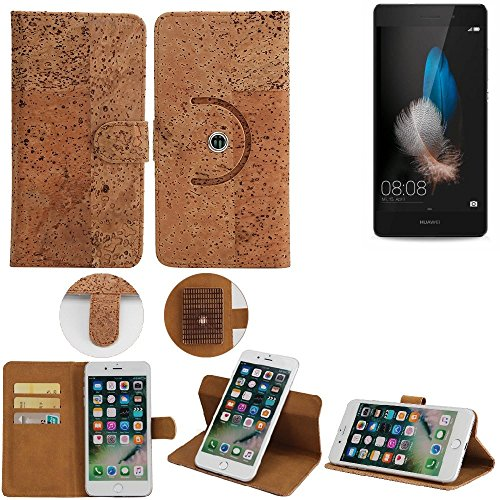 K-S-Trade® Schutz Hülle Für Huawei P8 Lite Dual-SIM Handyhülle Kork Handy Tasche Korkhülle Schutzhülle Handytasche Wallet Case Walletcase Flip Cover Smartphone Handyhülle