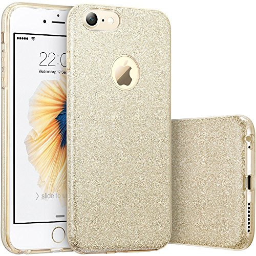ERAGLOW iPhone 7 Case,iPhone 8 case, iPhone 7 8 Back Cover Shinning Protective Bumper Sparkle Bling Glitter Case for 4.7 inches iPhone 7 & 8 (Gold)