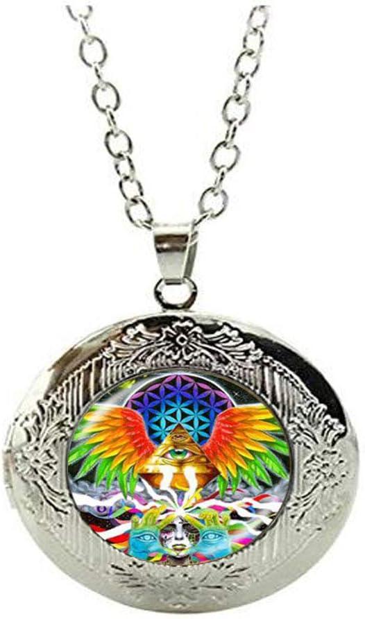 Beautiful Fire Phoenix Locket Necklace Glass Art Photo Jewelry Birthday Festival Gift Beautiful Gift