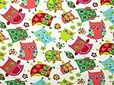 Eulen Print Stretch Jersey Knit Kleid Stoff