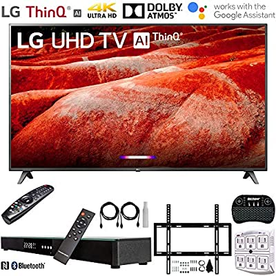 """LG 86UM8070PUA 86"""" 4K HDR Smart LED IPS TV w/AI ThinQ 2019 Model with Home Theater 31"""" Soundbar, Wireless Backlit Keyboard, Flat Wall Mount Kit & SurgePro 6-Outlet Surge Adapter"""