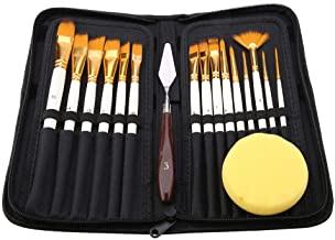 17Pcs Artist Paint Brush Set with Carrying Black Case Paint Knife Sponge for Watercolor Brush Oil Acrylic Drawing Painting