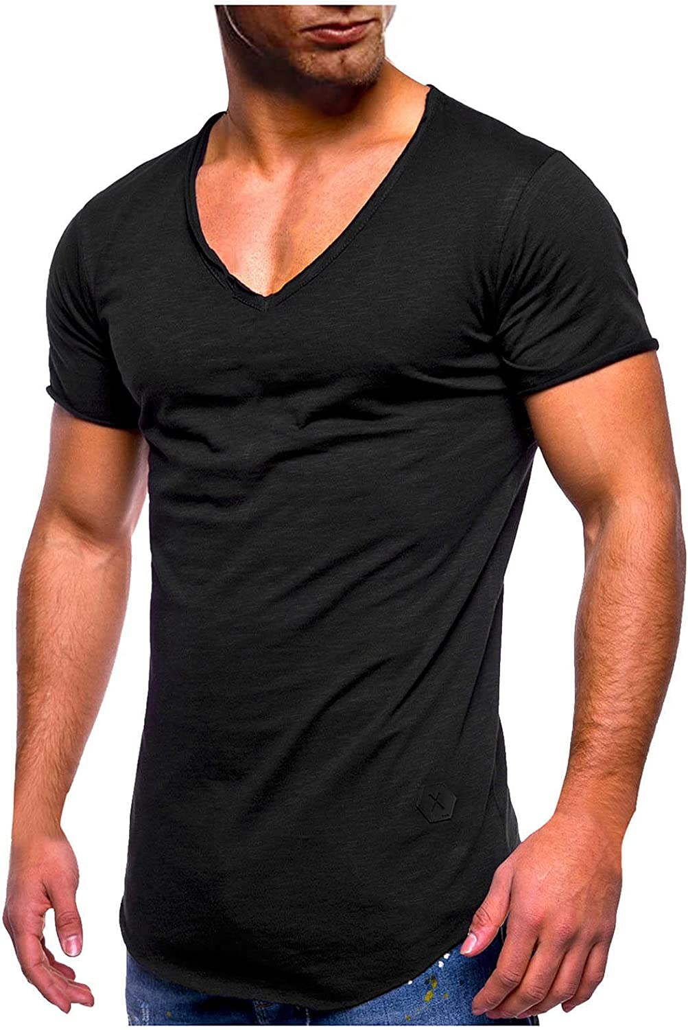 LEIYAN Mens Casual Muscle Tee Shirts Summer Short Sleeve Plus Size V-Neck Outdoor Athletic Workout T-Shirts for Running