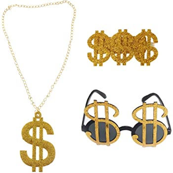 Gold Dollar Money $ Sign Big Pimp Daddy Sunglasses Glasses Gangster Costume
