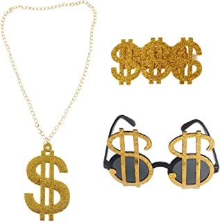 3pcs Golden Dollar Sign Money Pendant Necklace Glasses Ring Men's Funny Pimp Gangster Rapper Fancy Costume Prop