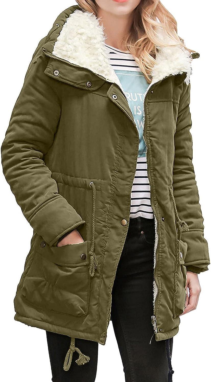 Women's Thickened Fuzzy Fleece Zip Up Parka Coat Warm Faux Fur I