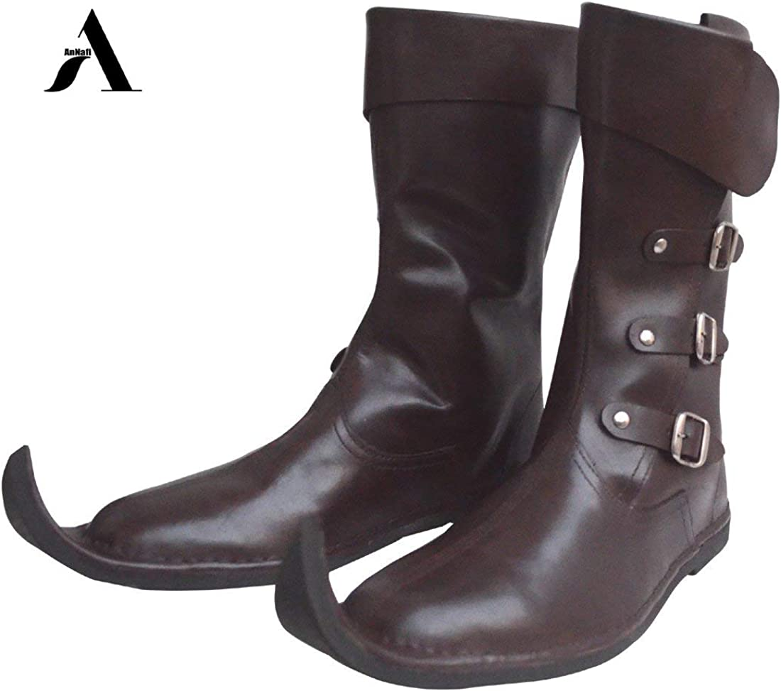 Renaissance Inspired Loafer Boot Halloween Pirate Captain Boot Re-Enactment Viking Mens Shoes SCA LARP Riding Costume Boot for Cosplay AnNafi Medieval Leather Boots 3 Buckle