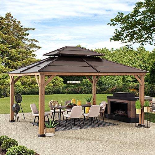Sunjoy Chapman 13 x 15 ft. Cedar Framed Gazebo with Steel 2-Tier Hip Roof Hardtop, 13 x 15, Brown
