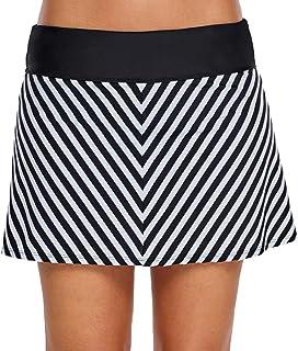 LAUSONS Traje de baño Mujer bañadores con Falda Shorts de baño Mujer Falda de Bikini a Rayas