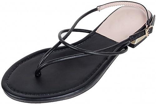 DHG Boucle de Mot Rétro Plat avec des Sandales de Pieds Féminins Fées Frais étudiants,Noir,38