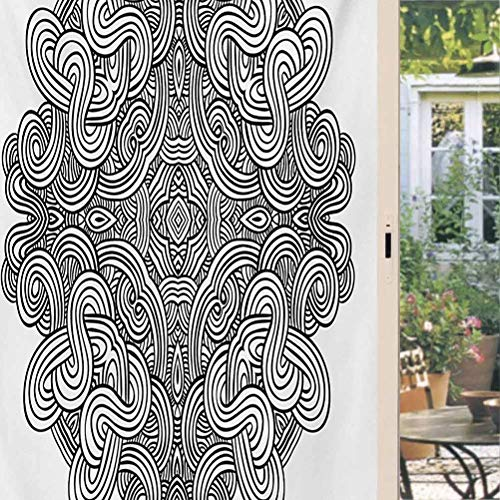 Celtic Window Privacy Film Static Circular Macro Ancient Celtic Knot with Twisted Spirals and Lines Classic Cultural Door Sticker for Home Office Living Room, Non-Adhesive 35.4 x 157.5 inch