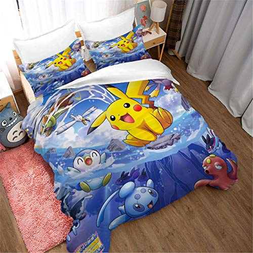 888 AIMENDESI Duvet Cover Sets 3D Pokemon Printing Cartoon Bedding Set With Zipper Closure 100% Polyester Gift Duvet Cover 3 Pieces Set With 2 Pillowcases G-GB/AU Single53*79'(140 * 210cm)