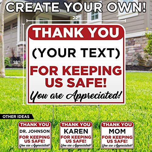 Custom Thank You for Keeping Us Safe Yard Sign - Social Distancing Quarantine - Stay Safe - Bend The Curve - Design Your own Lawn Sign